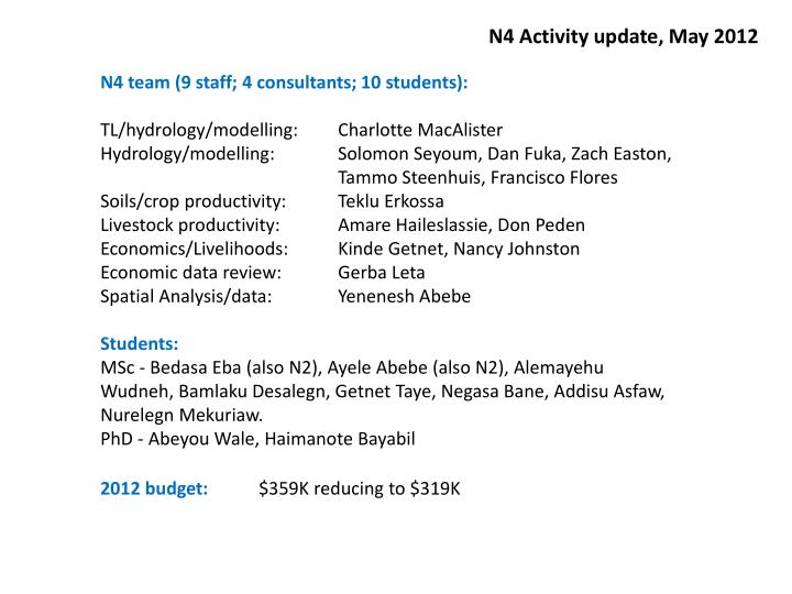N4 Activity update, May 2012