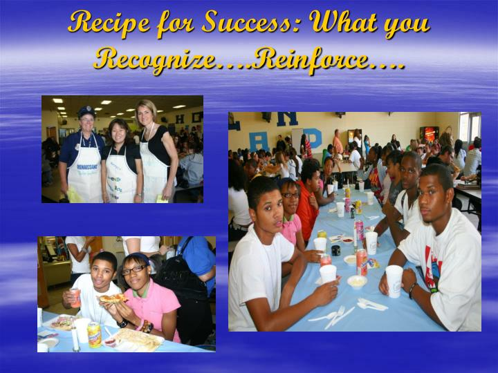 Recipe for Success: What you Recognize….Reinforce….