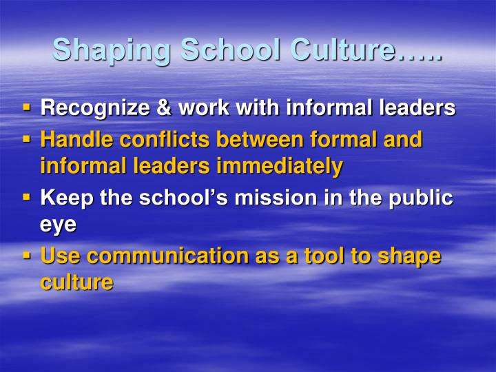 Shaping School Culture…..