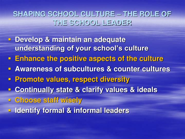 SHAPING SCHOOL CULTURE – THE ROLE OF THE SCHOOL LEADER