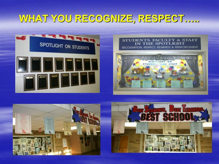 WHAT YOU RECOGNIZE, RESPECT…..
