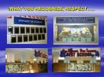 what you recognize respect