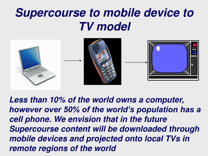 Supercourse to mobile device to TV model