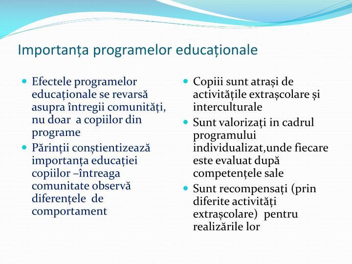 Importanța programelor educaționale