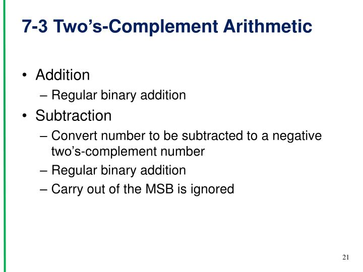 7-3 Two's-Complement Arithmetic