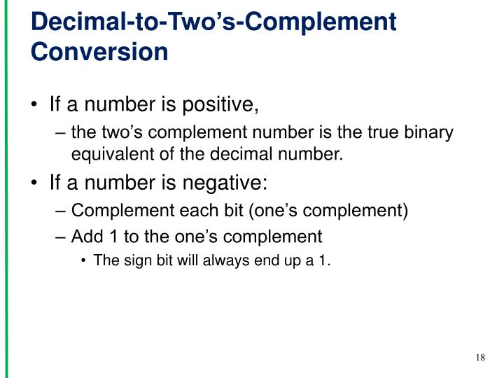 Decimal-to-Two's-Complement Conversion