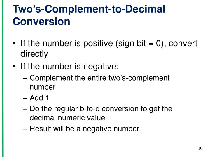 Two's-Complement-to-Decimal Conversion