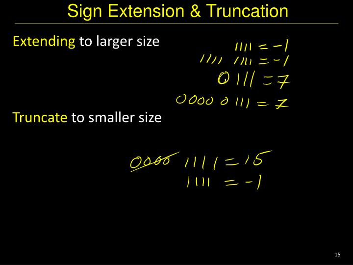 Sign Extension & Truncation