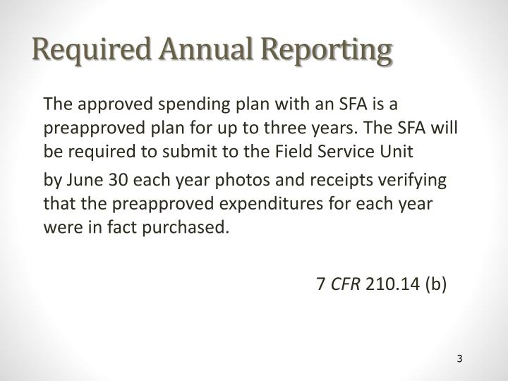 Required Annual Reporting