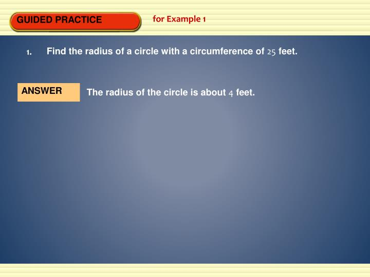 Find the radius of a circle with a circumference of