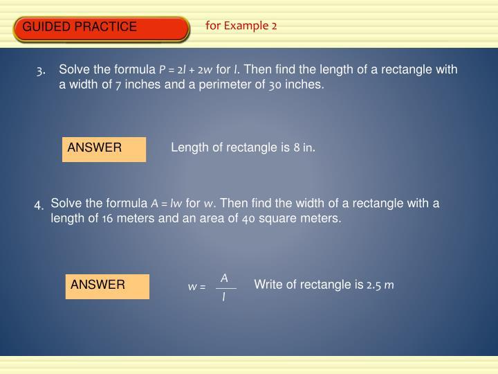 Solve the formula