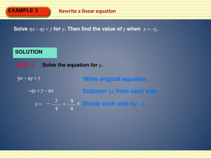 Solve the equation for