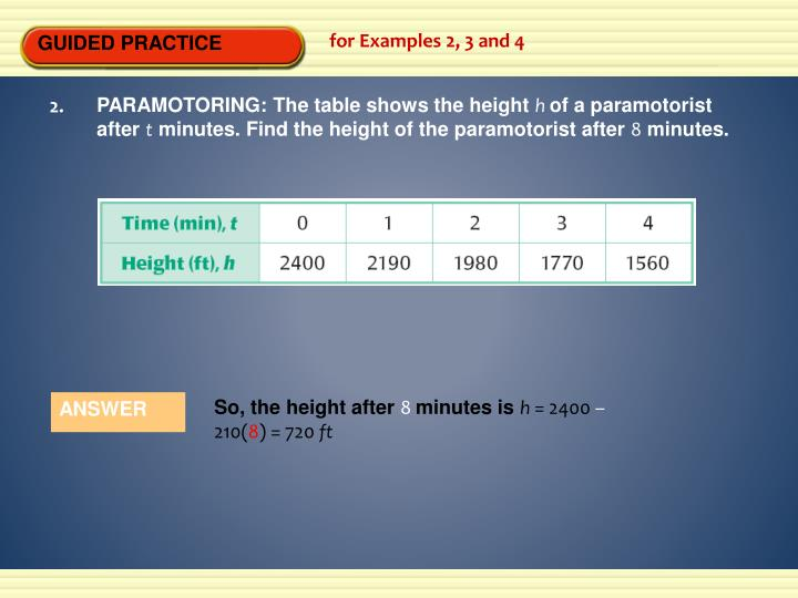 PARAMOTORING: The table shows the height