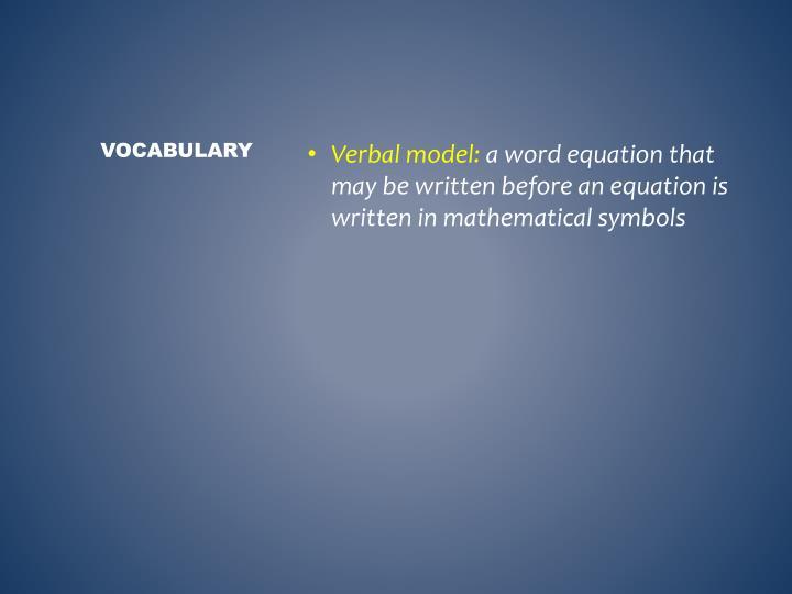 Verbal model: