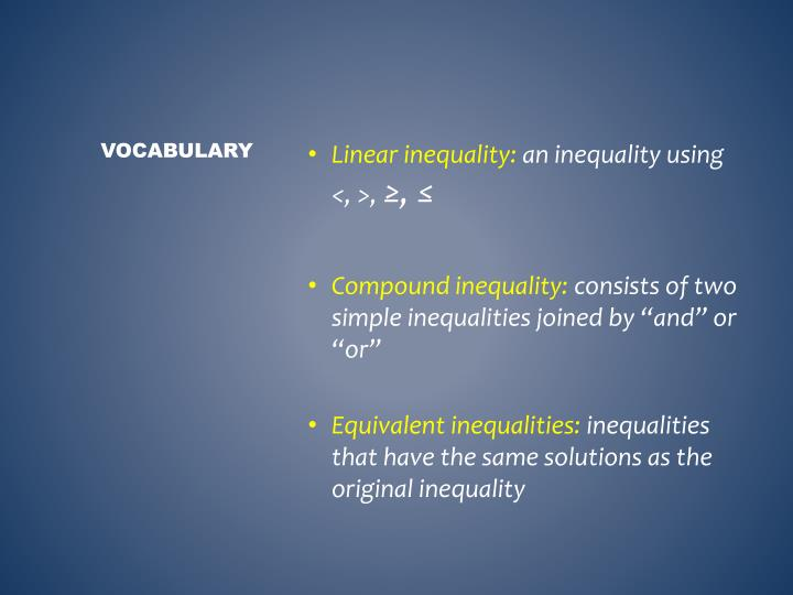 Linear inequality: