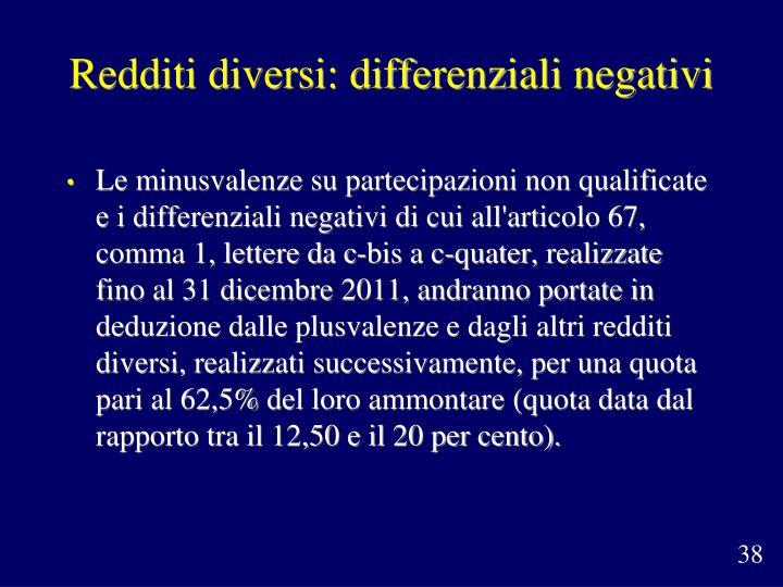 Redditi diversi: differenziali negativi