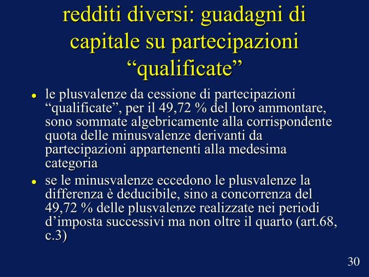 """redditi diversi: guadagni di capitale su partecipazioni """"qualificate"""""""