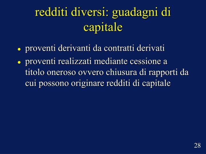 redditi diversi: guadagni di capitale