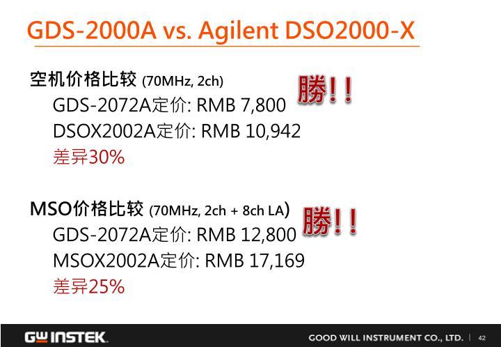 GDS-2000A vs. Agilent DSO2000-X