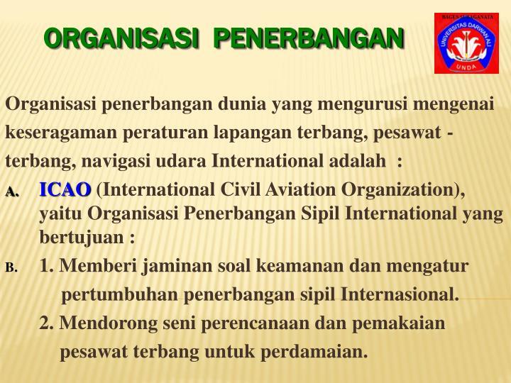 Organisasi penerbangan dunia yang mengurusi mengenai