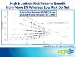 high nutrition risk p atients benefit from more en whereas low risk do not