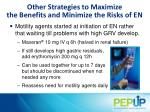 other strategies to maximize the benefits and minimize the risks of en