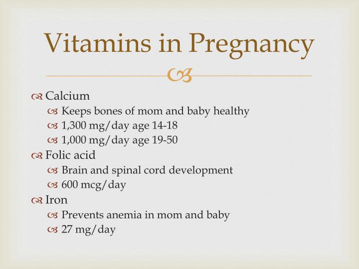 Vitamins in Pregnancy