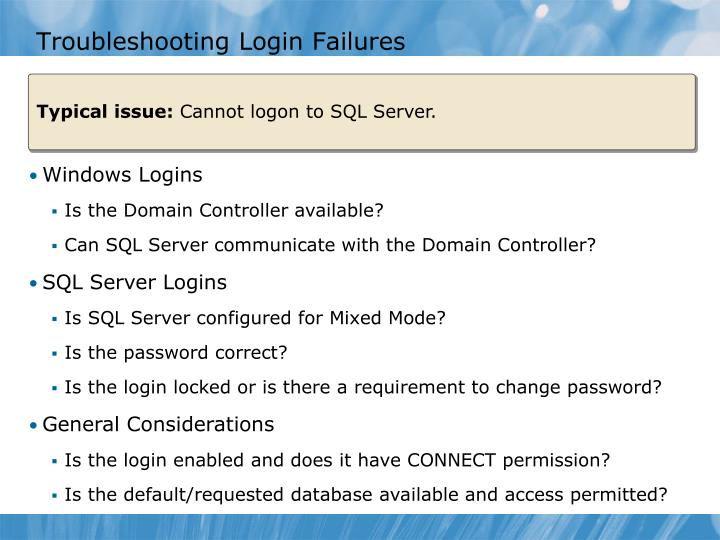 Troubleshooting Login Failures