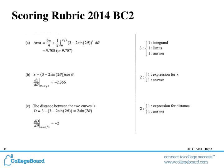 Scoring Rubric 2014 BC2