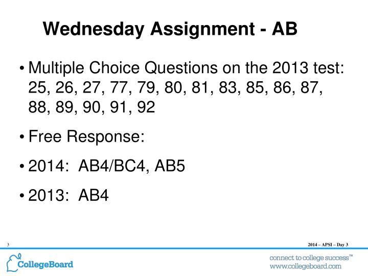 Wednesday assignment ab
