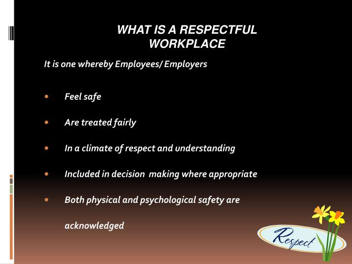 WHAT IS A RESPECTFUL WORKPLACE