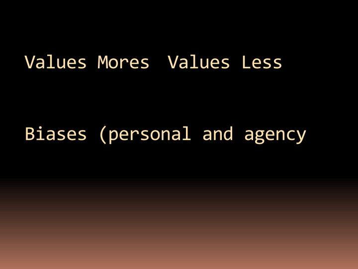 Values MoresValues Less