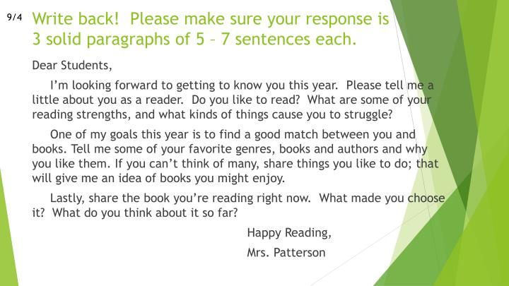 Write back please make sure your response is 3 solid paragraphs of 5 7 sentences each