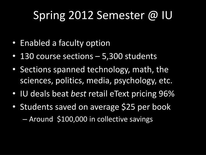 Spring 2012 Semester @ IU