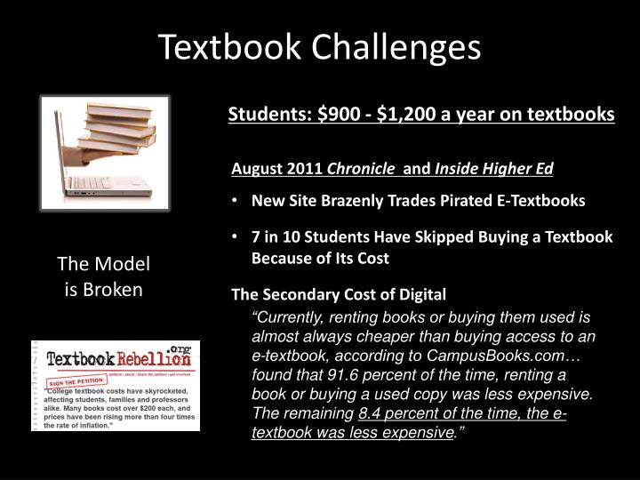 Textbook challenges
