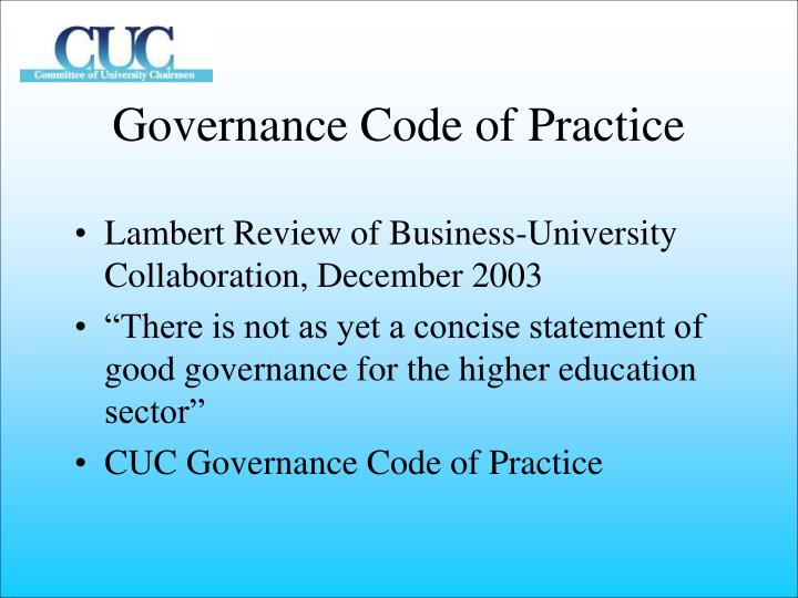 Governance Code of Practice