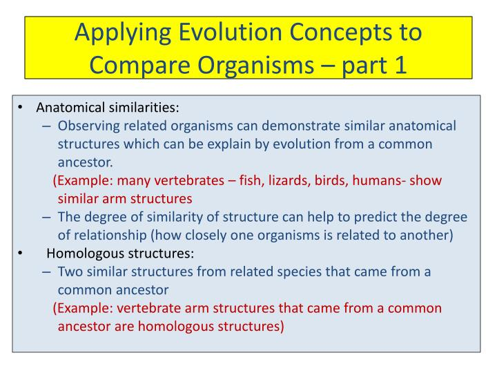 Applying Evolution Concepts to Compare Organisms – part 1
