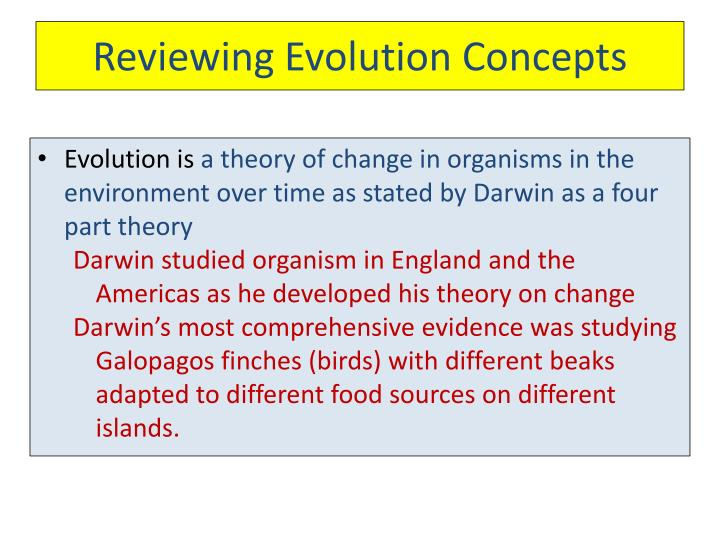 Reviewing Evolution Concepts