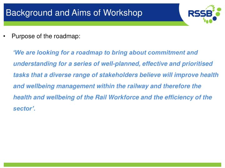Background and Aims of Workshop