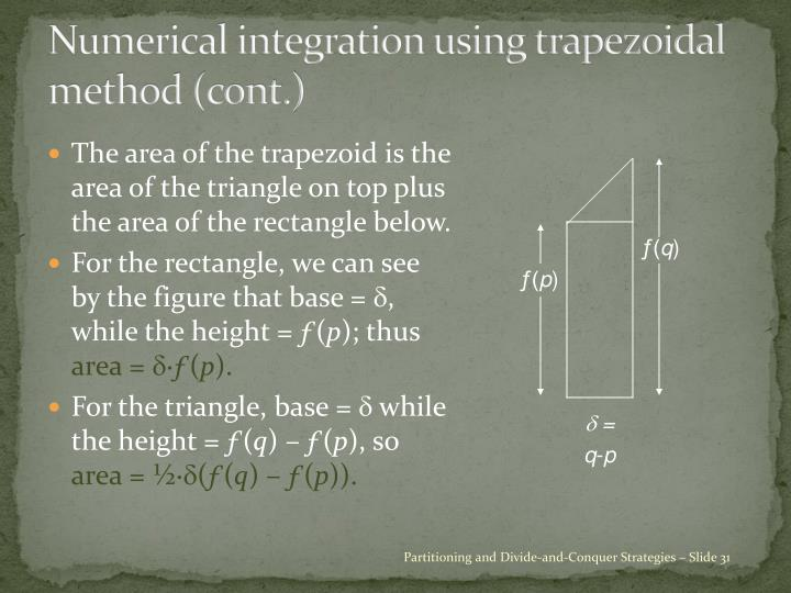 Numerical integration using trapezoidal method (cont.)