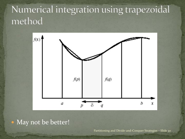 Numerical integration using trapezoidal method