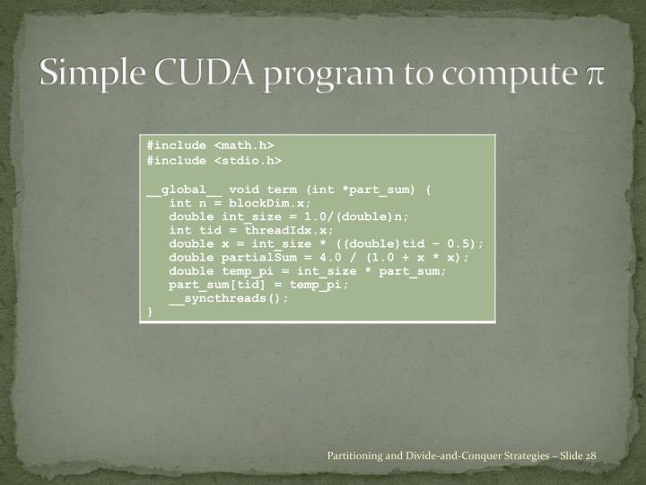 Simple CUDA program to compute