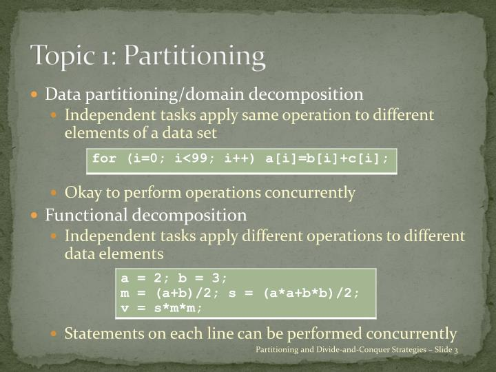 Topic 1: Partitioning