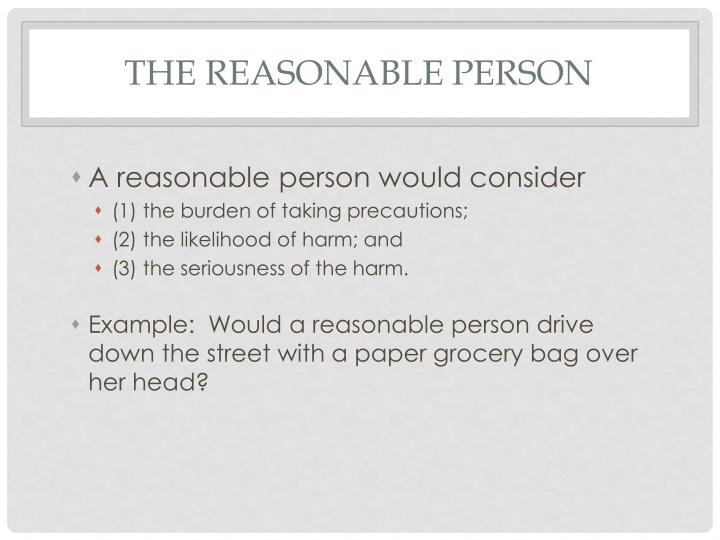 The Reasonable Person