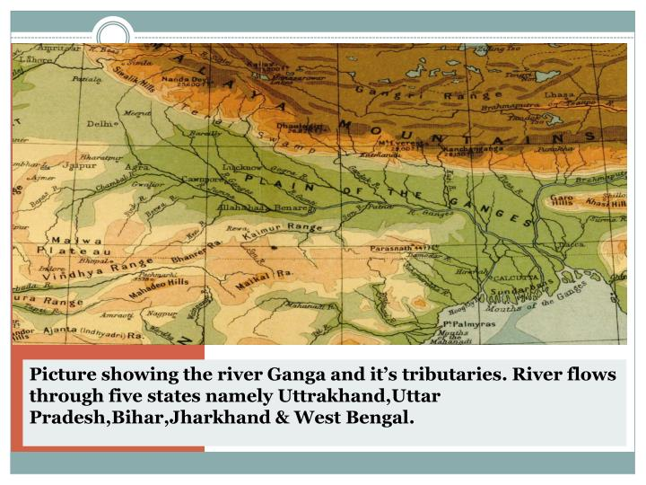 Picture showing the river Ganga and it's tributaries. River flows through five states namely Uttrakhand,Uttar Pradesh,Bihar,Jharkhand & West Bengal.