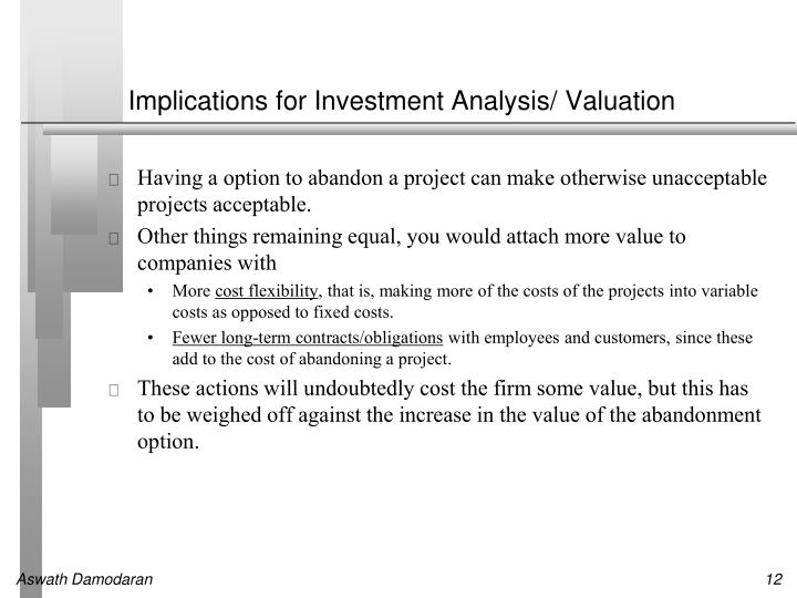 Implications for Investment Analysis/ Valuation