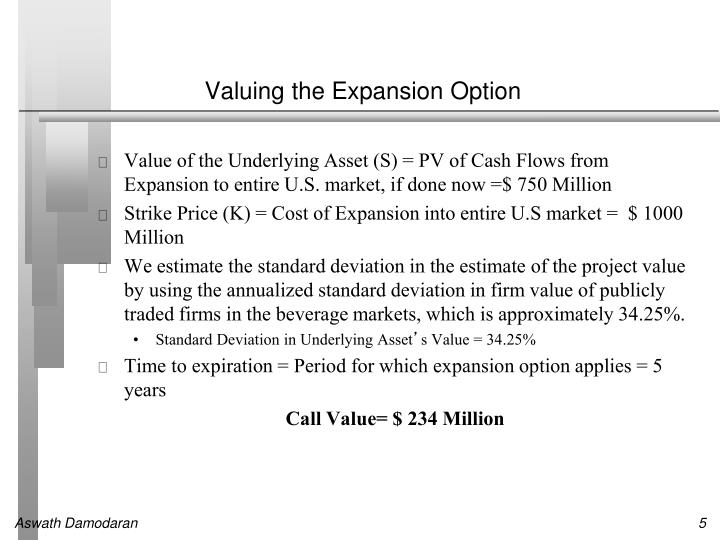 Valuing the Expansion Option