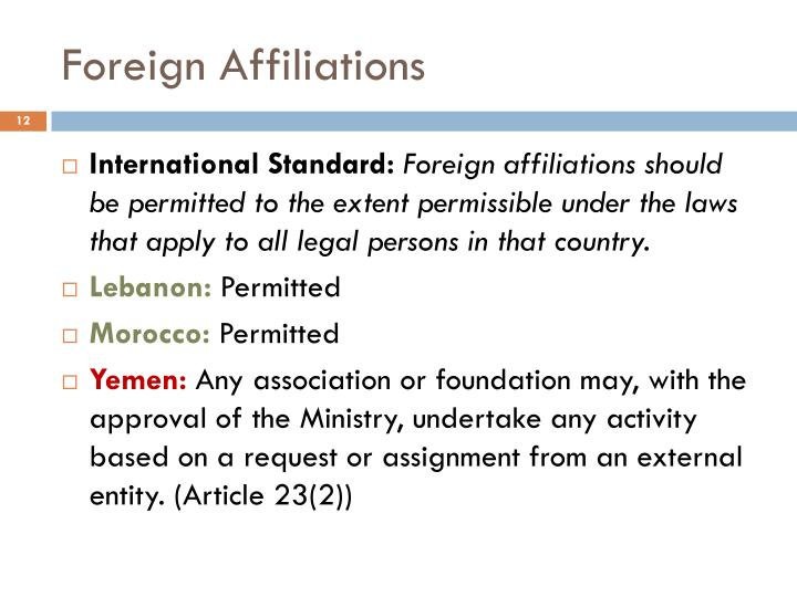 Foreign Affiliations