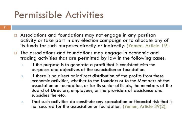 Permissible Activities