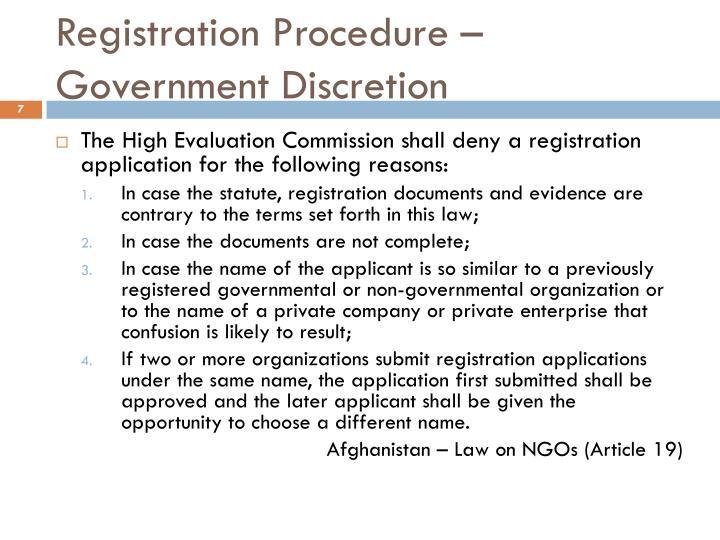 Registration Procedure – Government Discretion